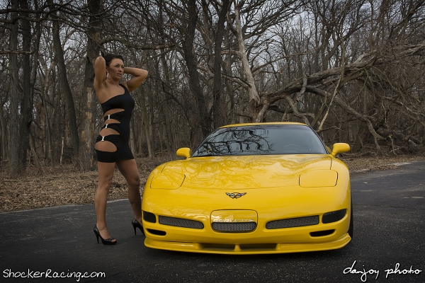 Jamie Barwick in a sexy black dress with Toms Z06 Photoshoot by Dan Joy