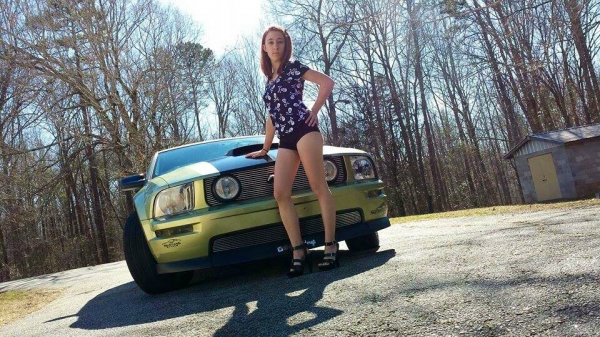 Karli Perry with a Mustang GT for ShockerRacingGirls