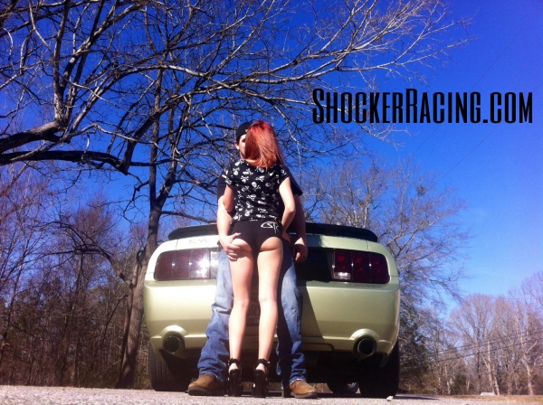 Karli Perry and Logan Prater with his Mustang GT for ShockerRacingGirls