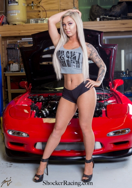 Chelsea Hensley for ShockerRacingGirls with a Mazda RX7