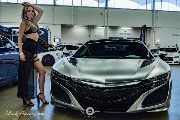 Samantha Kaye at Spocom Texas 2017 with an Acura NSX