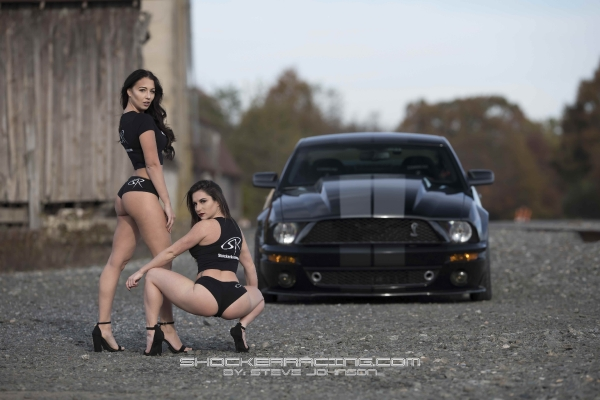 Bex Russ and Bianca Owens with JD Joyride TV for the ShockerRacing Calendar Cover Shoot