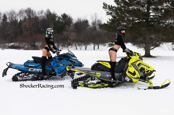 Lam and Courtney Lynn for ShockerRacing Girls with Snowmobiles