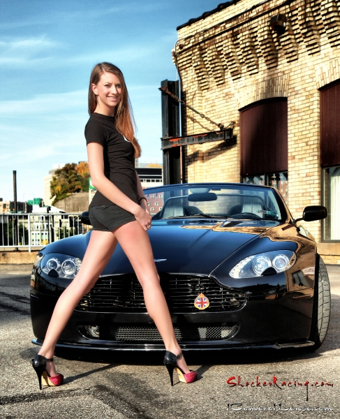 Cassidy Norris with an Aston Martin V8 Vantage - Photo by Fred Jennings Photography