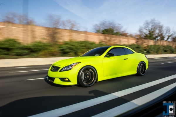 Jessica's Hi Liter Yellow Wrapped Infiniti G37 featuring Faith Marone