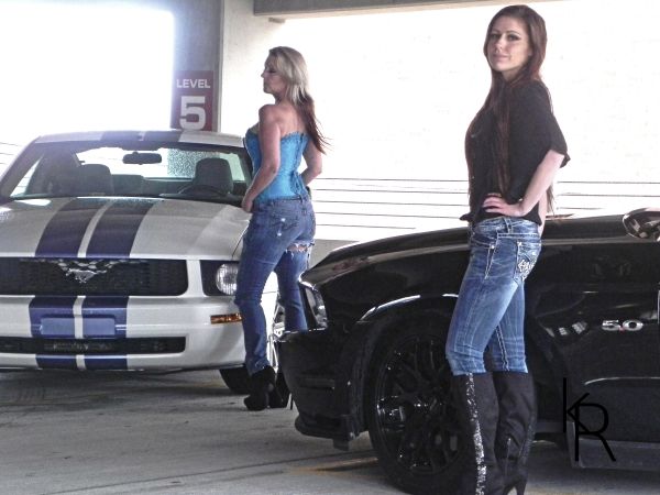 Lauren and Shelby with their Mustangs