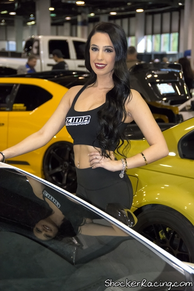 Alexia modeling in the Zima Motorsports booth at Tuner Galleria 2015