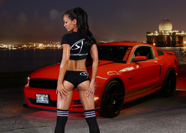Ann Janette with a Mustang