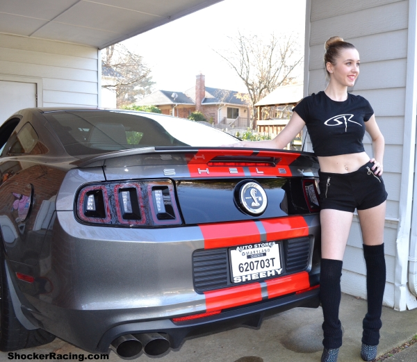 Sam Potter with her 2014 Shelby GT500 for ShockerRacingGirls