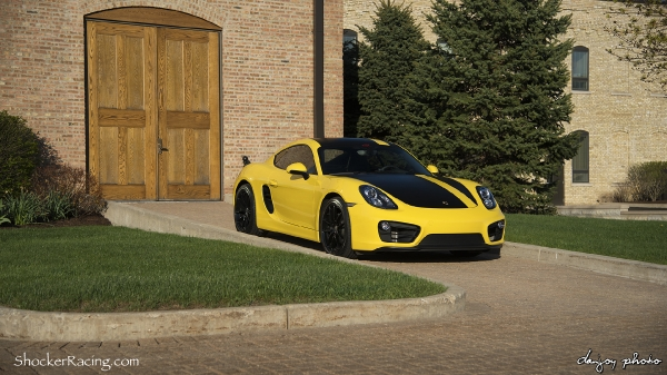 Racing Yellow Porsche Cayman 981 with O.Z. Leggera Wheels