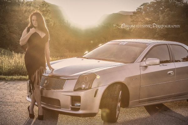 Nikki Thibeault with a CTS-V for ShockerRacingGirls