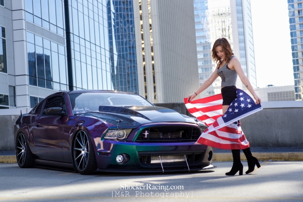 Sarah Senecal for ShockerRacingGirls with Beedo Jas' Mustang