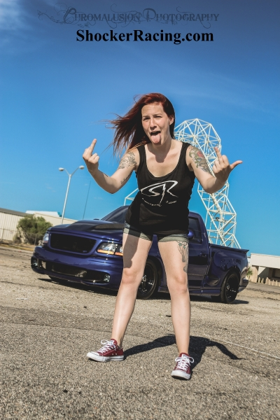 Jessica Crammer for ShockerRacingGirls with a Ford Lightning owned by @BlowerWhore