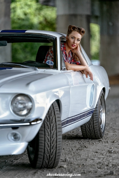 Bex Russ Model with Tiffany Dockery's 1968 Shelby Mustang