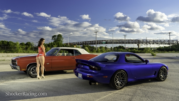 Kylin Sloan with a Mazda RX-7 and a 1970 Chevelle SS 396