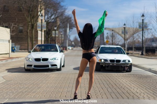 Katelyn Frosolone with an E92 M3 and an E46 M3