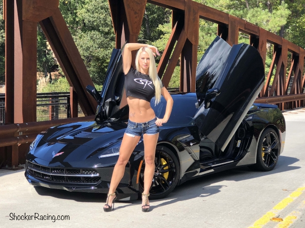 Shelby Evans with her Corvette for ShockerRacing Girls