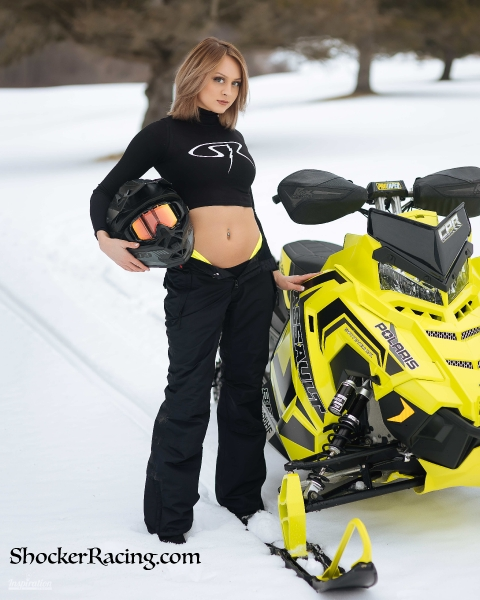 Courtney Lynn for ShockerRacing Girls with a snowmobile